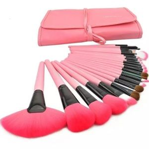 Pink makeup brushes 24 pieces